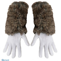 White knitted gloves with attached faux fur sleeve