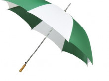 White/green 8 panel umbrellas with wooden grip  -100cm