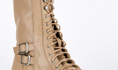 Taupe Lace Up Mid Calf Combat Boots for women