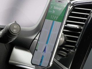 Magnetic mobile phone holder for smartphone with clamp for ventilation grille