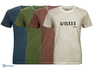 """STOCK LOT OF JEEP J MAN T-SHIRT COLD DYE """"Willys"""" J8S"""
